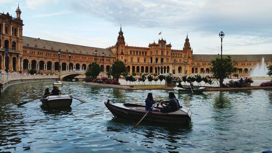 Architecture Sky Built Structure Building Exterior Cloud - Sky Travel Destinations Tourism Outdoors Water History Day City Gondola - Traditional Boat Andalusia Moorish Architecture