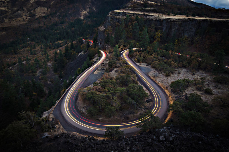 Rowena Crest, Oregon Aerial View City Connection Curve Dusk High Angle View Highway Illuminated Landscape Light Trail Long Exposure Night No People Outdoors Road Traffic Transportation Travel Winding Road The Street Photographer - 2017 EyeEm Awards Been There. EyeEm Ready   Visual Creativity HUAWEI Photo Award: After Dark