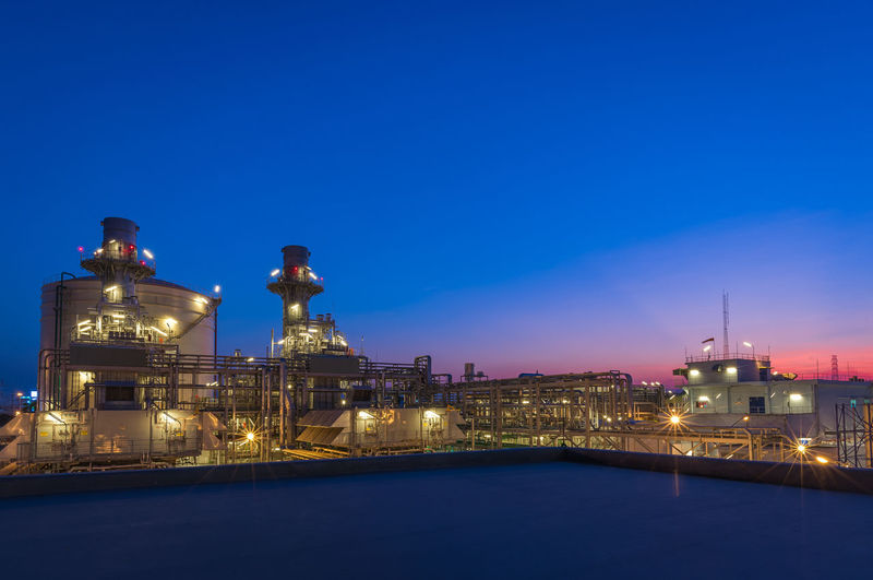 Illuminated Building Exterior Built Structure Blue Sky Night Architecture Copy Space Nature Dusk No People Water Clear Sky Lighting Equipment Building Waterfront Religion Outdoors Place Of Worship Purple Power Plant