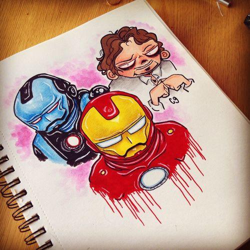 Sketch Cartoon Cute Doodle Drawing Creepy Art Fan Art Ironman Tony Stark