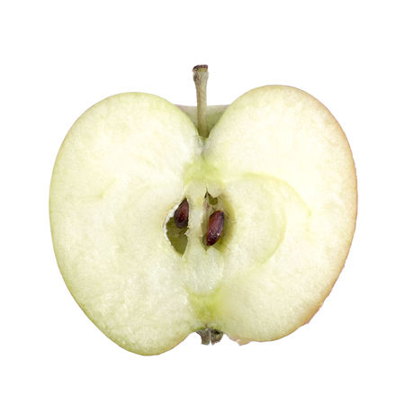 Apple cut in half on white background Apple Close-up Core Cut Out Detail Directly Above Food Food And Drink Freshness Fruit Half Healthy Eating Heart Shape Overhead View Pips SLICE Sliced Still Life Studio Shot White Background White Color