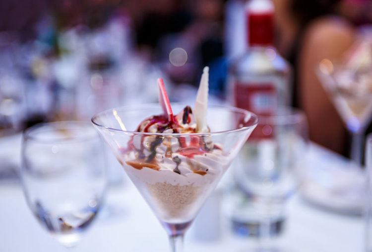 Close-up of dessert in martini glass