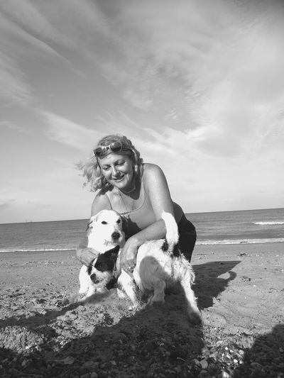 Beach Sand Adults Only Only Women Adult Pets Outdoors Sea Dog Beach Photography Sandwichbay Hauweip9 Huawei P9 Leica Blackandwhite Photography