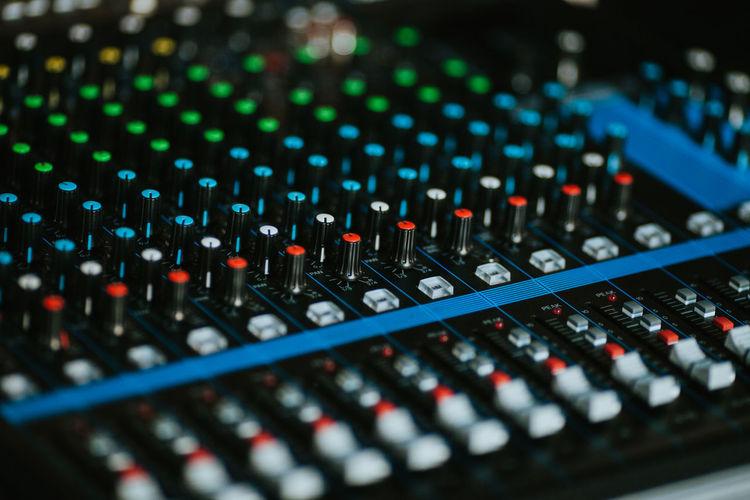 Full frame shot of audio mixer