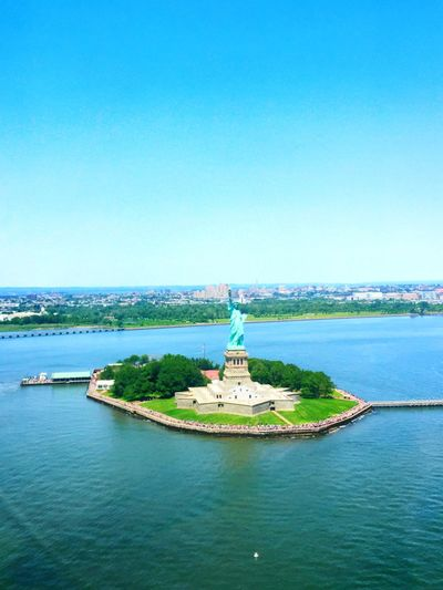 Statue of Liberty from a Helicopter Statue Of Liberty Helicopter Starshape Water