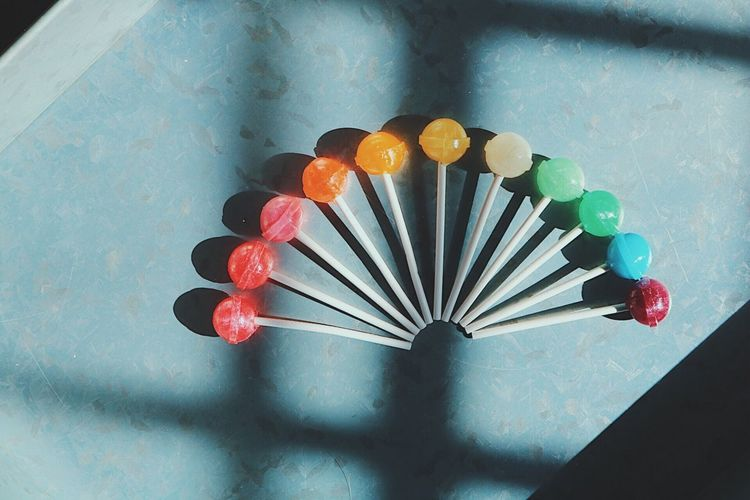 Shadows & Lights Rainbow Photooftheday Popular Photos EyeEm Best Shots EyeEm Lollipops Candy Arts Culture And Entertainment Variation Multi Colored Indoors  High Angle View No People Large Group Of Objects Day