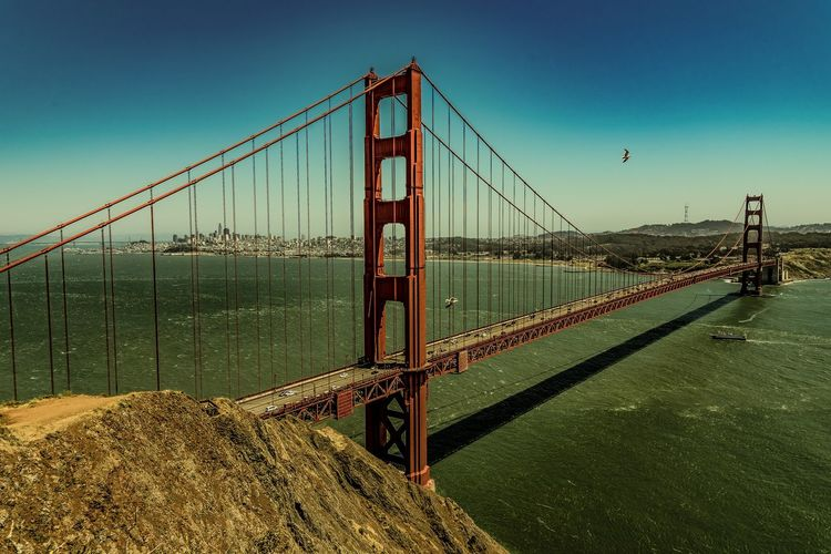 Golden Gate Bridge Architecture Bridge - Man Made Structure Built Structure City Clear Sky Connection Day Golden Gate Bridge Mountain Nature No People Outdoors San Francisco Sky Suspension Bridge Transportation Travel Destinations Water