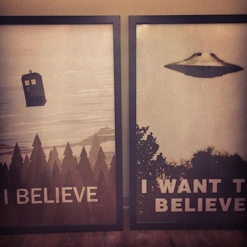Doctorwho Xfiles Iwanttobelieve Poster on left by Bigbadrobot etsy