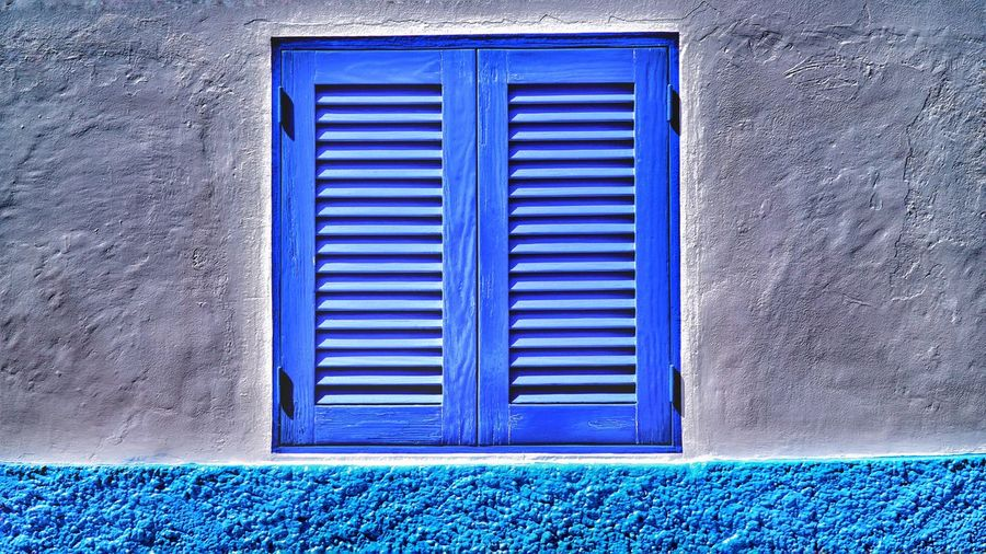 Closed window Blue Built Structure Door Architecture Closed Building Exterior Outdoors No People Day Close-up