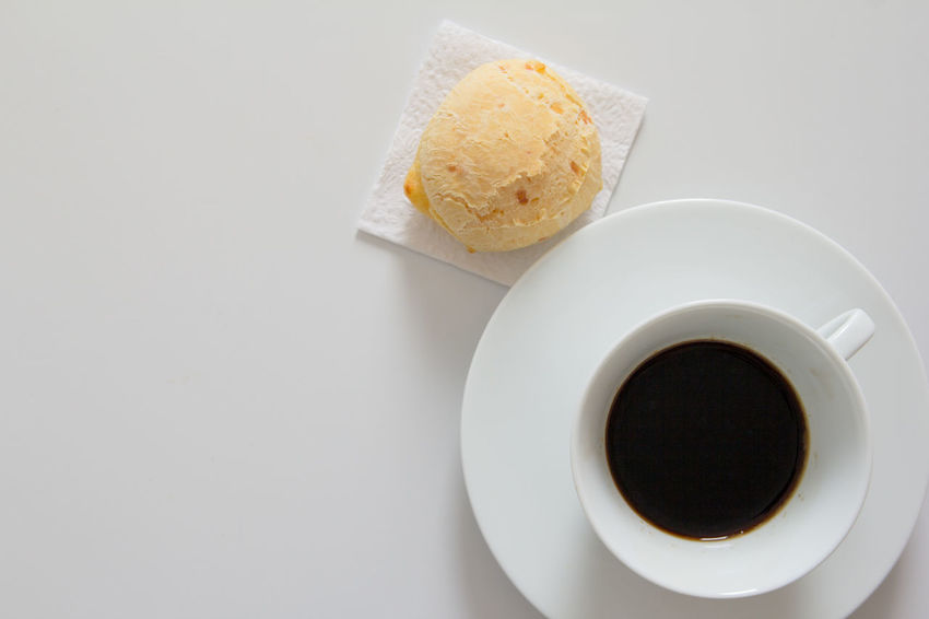 Pão De Queijo Chipa Close-up Coffee - Drink Coffee Cup Day Drink Food Food And Drink Freshness Indoors  No People Plate Ready-to-eat Refreshment Still Life Table White Background