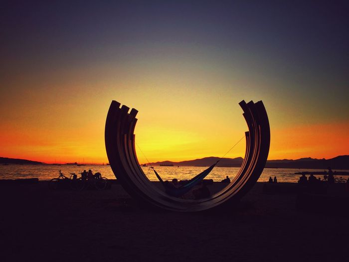 Bernar Venet Contemporary Art Contemporary Sculpture Sunset Beach Sunset_collection Vancouver Art Beach Beauty In Nature Hammock Horizon Over Water Installation Art Nature Outdoor Sculpture Outdoors Scenics Sculpture Sea Shore Silhouette Sky Sunset Tranquility Vancouver BC Water