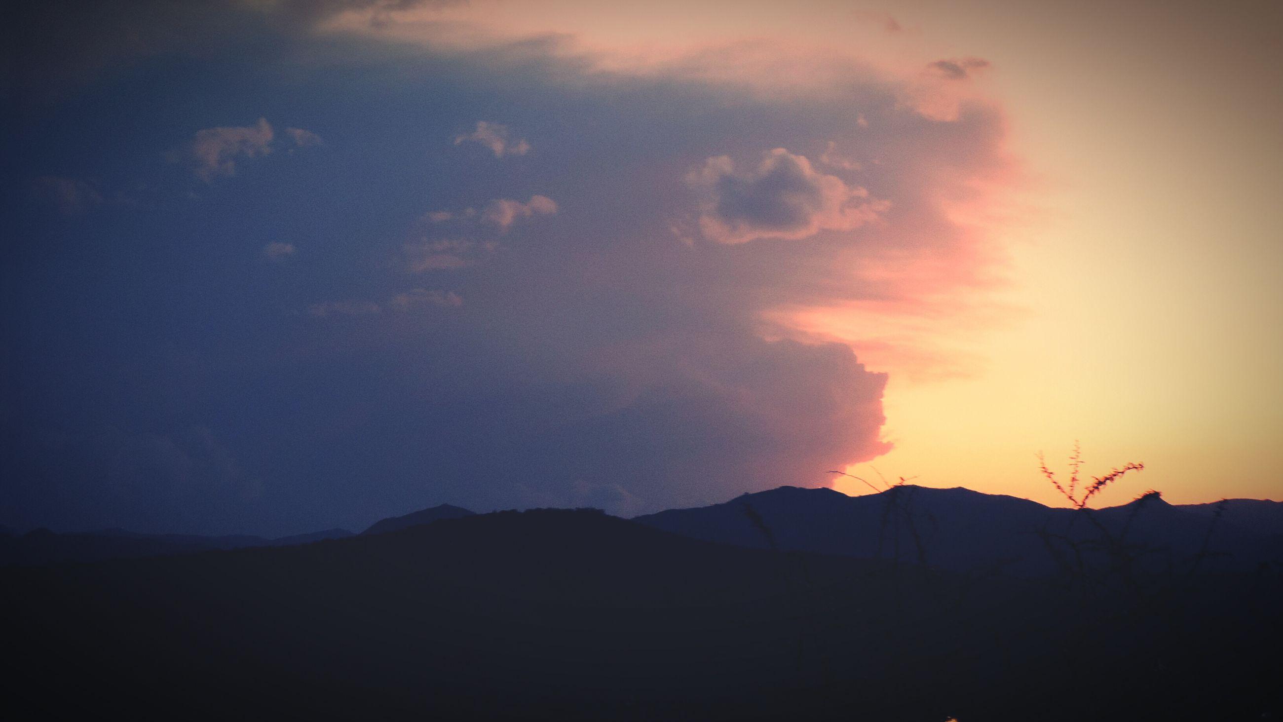 mountain, scenics, sunset, tranquil scene, sky, silhouette, tranquility, beauty in nature, landscape, mountain range, nature, cloud - sky, idyllic, cloud, non-urban scene, orange color, dusk, outdoors, majestic, remote