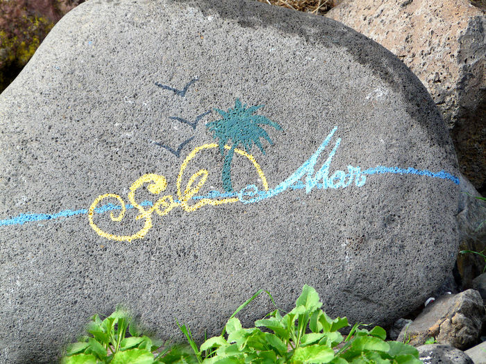 On a beach near Funchal, Madeira is a larg rock with a hand-painted advertising sign for a local solarium Madeira Beach Madeira Islands, Portugal Sign On A Rock Solarium Advertising Sign Close-up Communication Day Hand-painted Nature No People Outdoors Rock - Object Rock Art Text