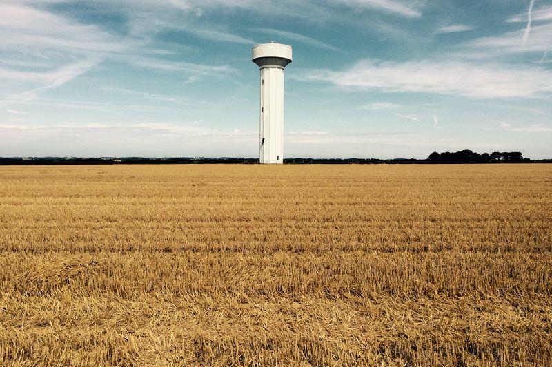landscape, france, normandy, watertower, blue sky