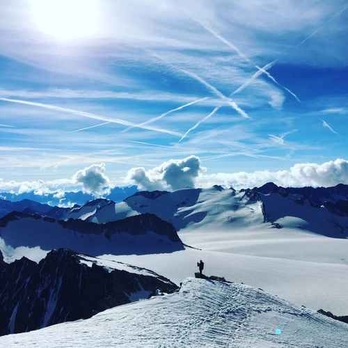 Mission Adamello Group Glacier Snow Sky And Clouds Alpinism Alps Sky Beauty In Nature Scenics - Nature Cloud - Sky Mountain Snow Tranquil Scene Nature Tranquility Cold Temperature