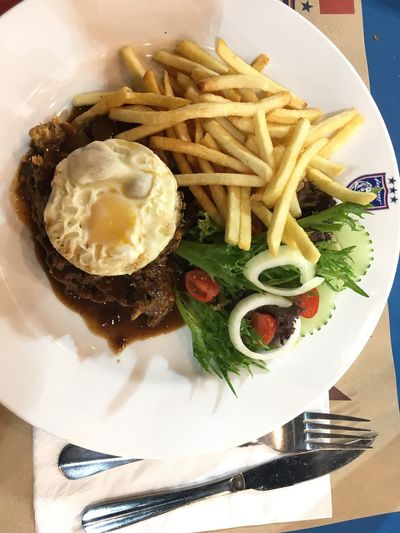 Chicken chop Plate Food Food And Drink Ready-to-eat Indoors  Freshness No People Table Serving Size Vegetable Prepared Potato Fried Egg Day Close-up