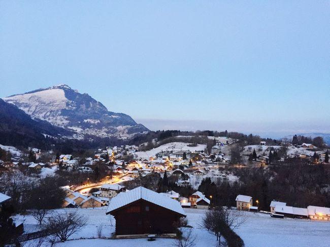 Winter Village Snow Clear Sky France