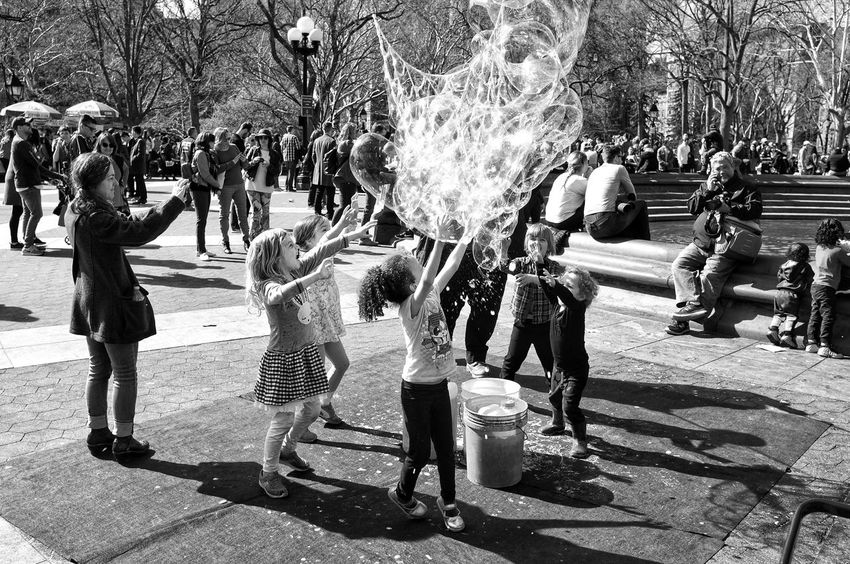 B&w NYC Large Group Of People Real People Crowd Sunlight Men Leisure Activity City Outdoors