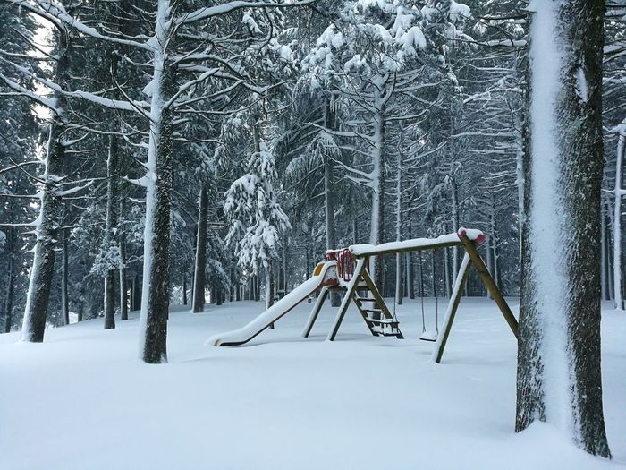 Snow Covered Swing In Winter