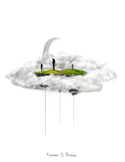 Floating Islands Composition Floating Islands Islands In Clouds Photo Manipulation Photomanipulation Photoshop Image Manipulation Clouds Rainbow Statue
