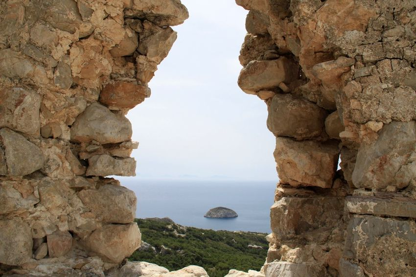 Ancient Architecture Architecture Beauty In Nature Cliff Frame It! Framed Island Monolithos Monolithos Rhodes Greece Mountain Nature No People Outdoors Rock - Object Rock Formation Scenics Sea Sea View Tranquility Water