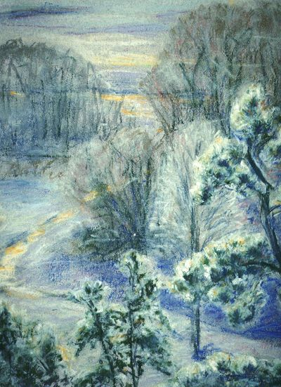 ... Another Pastel blast from the past: a little Stream going into Potomac River ... Winter Art Artworks My Art My Artwork Painting Soft Pastel  Soft Pastels Pine Trees Snow Virginia Ice Landscape Arte пейзаж рисунок зима Пастель деревья сосны