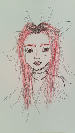 Quick Sketch My Art My Artistic Side Pen Drawing Red Black Girl Choker