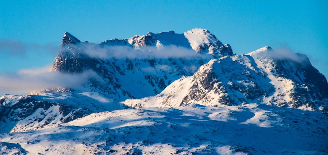 Landmark of Nuuk the capital of Greenland Greenland Snow Winter Cold Temperature Beauty In Nature Scenics - Nature Mountain Sky Snowcapped Mountain Landscape Nature Blue Idyllic