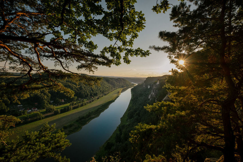 Sunset above the Elbe river in the Elbe Sandstone Mountains. Elbe River Germany 🇩🇪 Deutschland National Park Nationalpark Sächsische Schweiz Reflection Sandsteingebirge Beauty In Nature Day Landscape Mountain Nature No People Oak Tree Outdoors River Scenics Sky Sunlight Tranquil Scene Tranquility Tree Water First Eyeem Photo