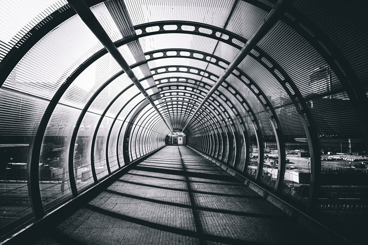 Low angle view of bridge in tunnel