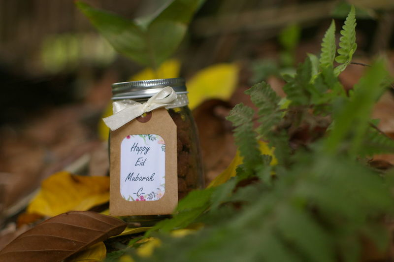 Close-up of text on food jar