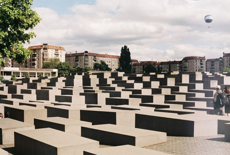 Memorial to the murdered jews of europe against sky in city