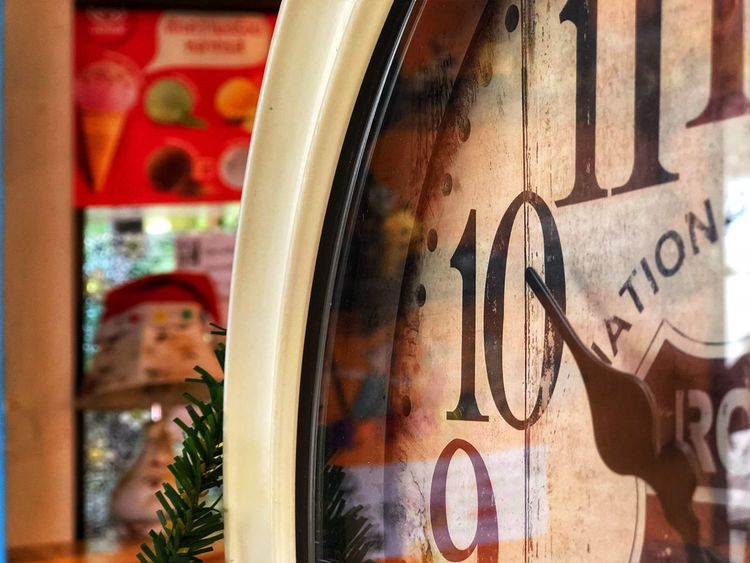 Clock for time and decorate for beauty. Watch Clock Number Time Opject Vintage Text Graffiti No People Reflection Glass - Material Creativity 10 Art And Craft Wall - Building Feature
