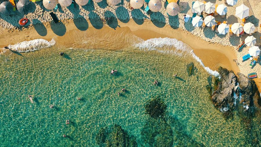 Aerial View Of Parasols At Beach