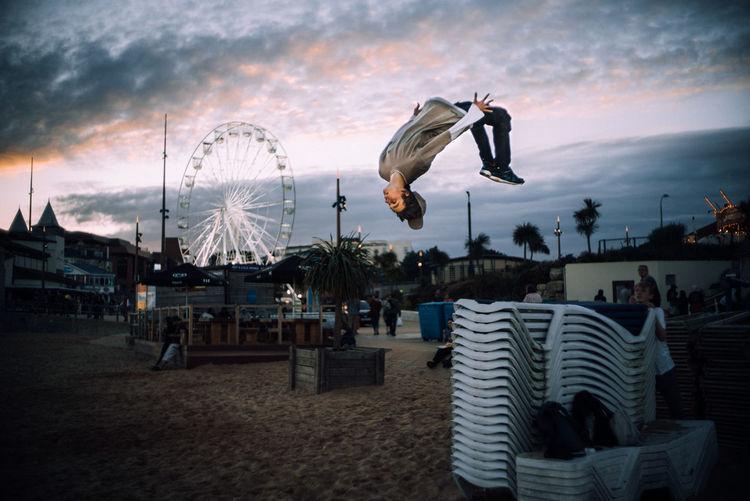 Panoramic shot of amusement park against sky