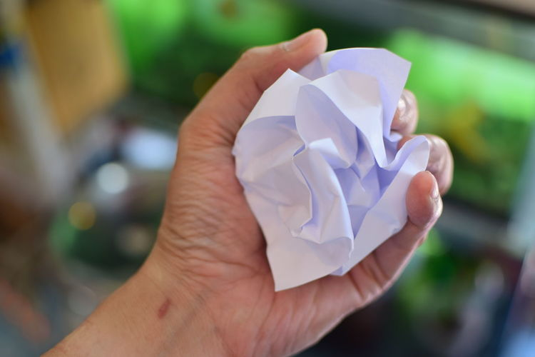 Useless paper Human Hand Hand Human Body Part Holding Close-up Focus On Foreground Real People Paper One Person Day Flowering Plant Origami Personal Perspective Freshness White Color Creativity Unrecognizable Person Plant Crumpled Paper Ball Finger Paperwork