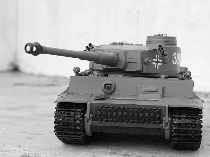 Close-up of armored tank on land