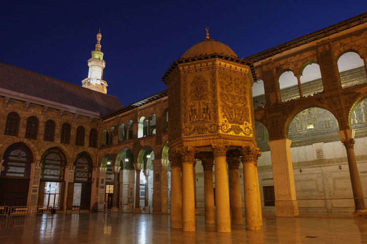 View of historical building at night