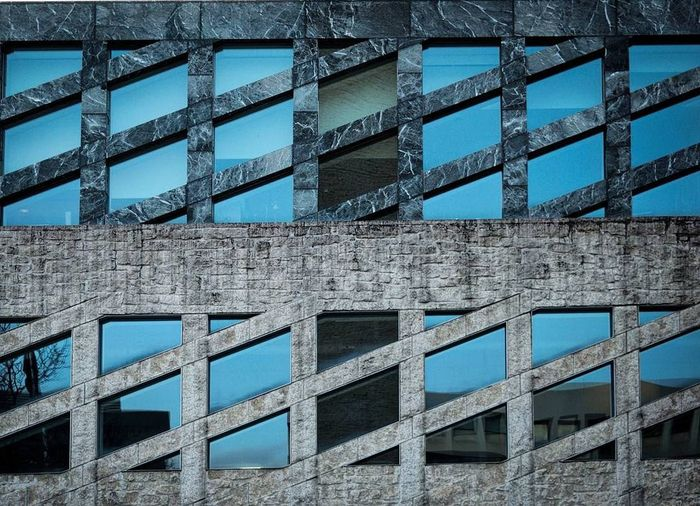 Architecture Backgrounds Blue Building Exterior Built Structure Close-up Day Full Frame Girder Low Angle View No People Outdoors Park Pattern Sky Window