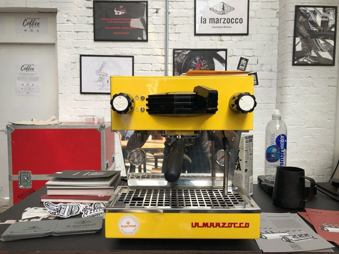 Birmingham UK Custardfactory Espresso Coffeefestival Espresso Machine Communication Technology Wall - Building Feature No People Text Table The Still Life Photographer - 2018 EyeEm Awards Yellow Equipment Indoors