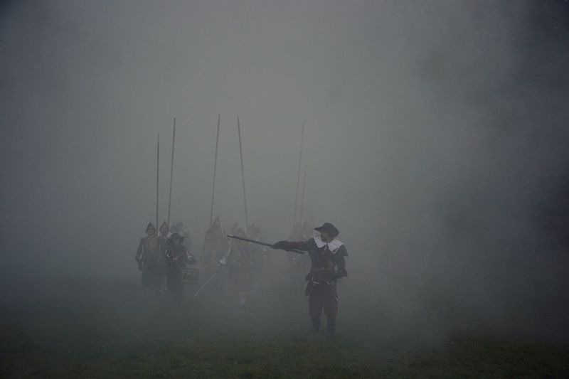 History Real People Field Men Fog Outdoors Day Weapon People Prague Whitehillbattle Battle