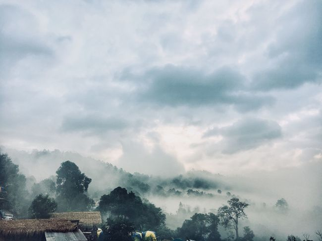 Chiang dao Beauty In Nature Thailand Chiang Mai | Thailand Chiangdao Outdoors Fog Tranquil Scene Mountain Architecture Day Landscape Tranquility No People