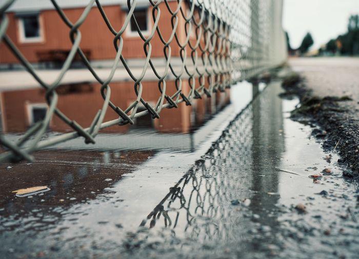 Surface level of wet fence in rainy season