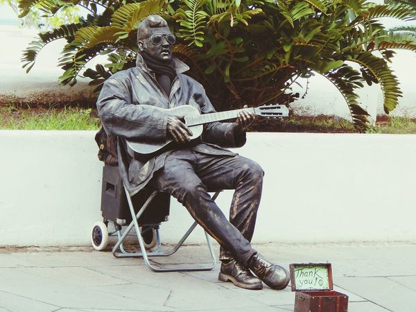 Elvis Presley Music Legend Playing Guitar Sculpture Street Entertainment Street Musician Urban Lifestyle