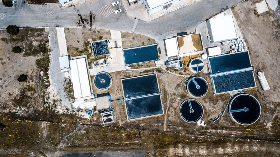 High angle view of sewage treatment plant