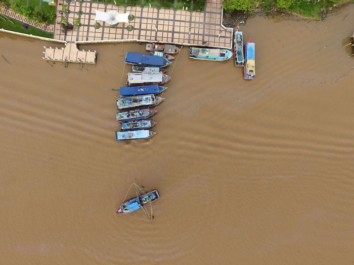 Bintulu fishing jetty from the top. Aerial Shot Barge Dronephotography High Angle View Jetty View Mode Of Transport Nature Nautical Vessel No People Outdoors River Transportation Water