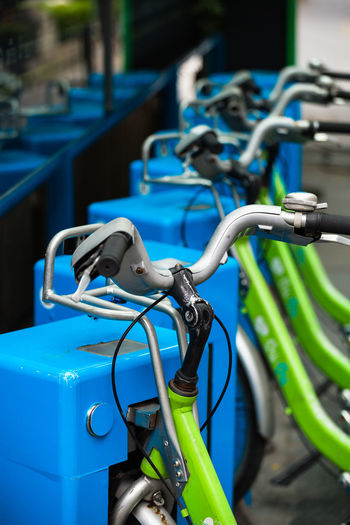 Bicycle Bicycle Parking Bicycle Trip Blue Close-up Day Daylight Green Lifestyles No People Outdoors