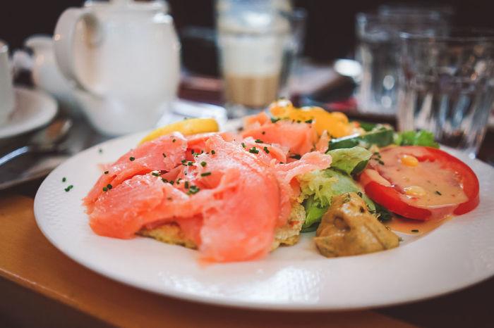 Austria Foods Branch With Berries Bunch Of Salmon Fresh Salad Salmon Salmon Dish Salmon Slices