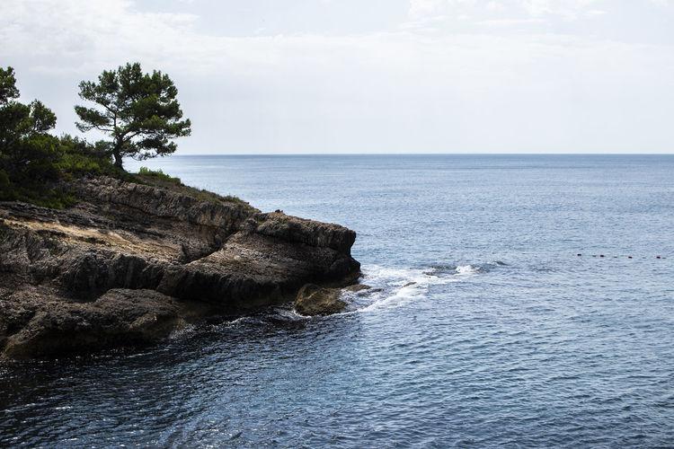 Water Beauty In Nature Nature Outdoors Sea Sky Horizon Rock Rocky Coastline No People Tree Horizon Over Water Land