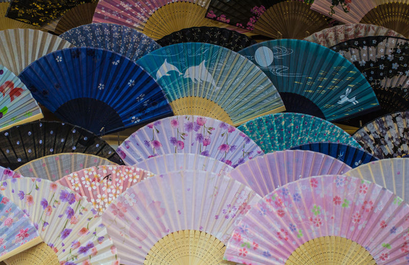 Full Frame Shot Of Multi Colored Hand Fans